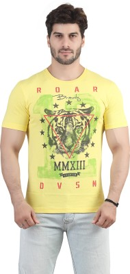 Maniac Geometric Print Men's Round Neck Yellow T-Shirt