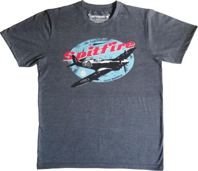 Contraband Graphic Print Men's Round Neck Grey T-Shirt