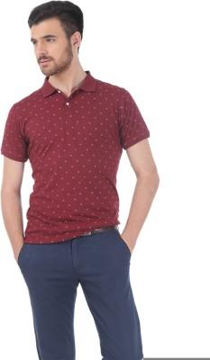 Basics Printed Men's Polo Neck Red T-Shirt