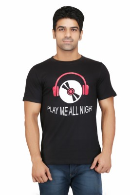 Crazeis Printed Men's Round Neck Black T-Shirt