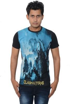 Lampara Graphic Print Men's Round Neck Black T-Shirt