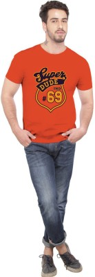 Beer Studio Printed Men's Round Neck Orange T-Shirt