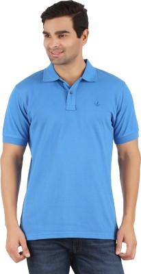 Lavos Solid Men's Polo Neck Blue T-Shirt