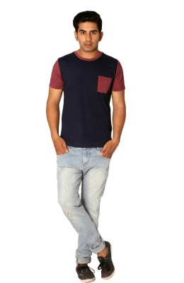 Style Connect Solid Men's Round Neck Blue, Maroon T-Shirt