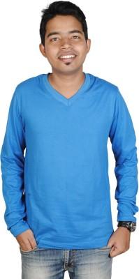 Vilva Solid Men's V-neck Blue T-Shirt
