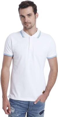 Jack & Jones Solid Men's Polo Neck White T-Shirt