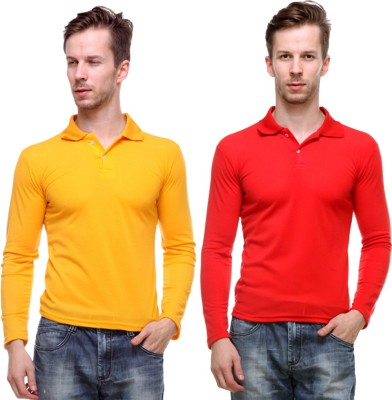 Grand Bear Solid Men's Polo Neck Reversible Yellow, Red T-Shirt