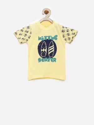 YK Printed Baby Boy's Round Neck Yellow T-Shirt