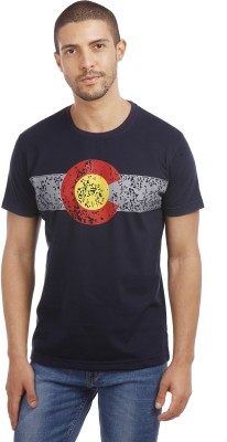 Leo Printed Men's Round Neck Blue T-Shirt