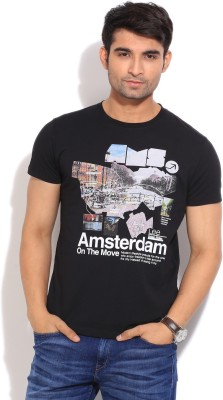 Lee Printed Men's Round Neck Black T-Shirt
