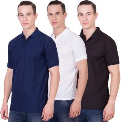 Randier Solid Men's Polo Neck Dark Blue, White, Black T-Shirt