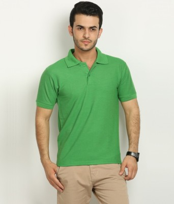 Fundoo-T Solid Men's Polo Green T-Shirt