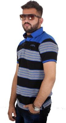 MjString Striped Men's Flap Collar Neck Blue T-Shirt