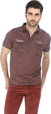 Basics Solid Men's Polo Neck Brown T-Shirt