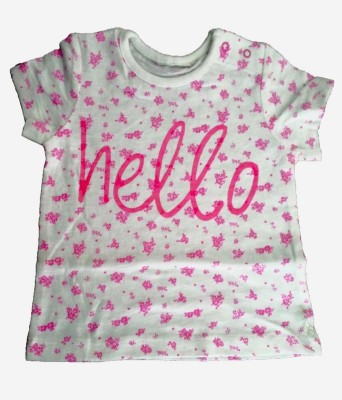 Cool Club Floral Print Baby Girl's Round Neck White T-Shirt