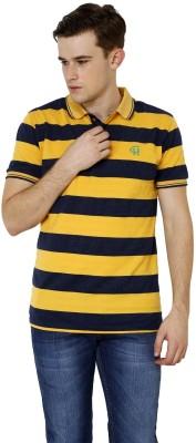 Crux&Hunter Striped Men's Polo Neck Yellow T-Shirt