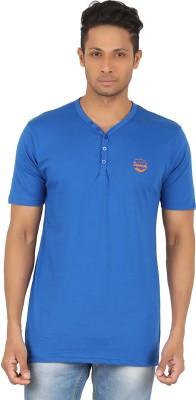 R-CROSS Solid Men,s Henley Blue T-Shirt