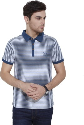 Urban Nomad By INMARK Striped Men's Polo Neck White, Blue T-Shirt