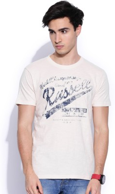 Russell Athletic Printed Men's Round Neck White T-Shirt