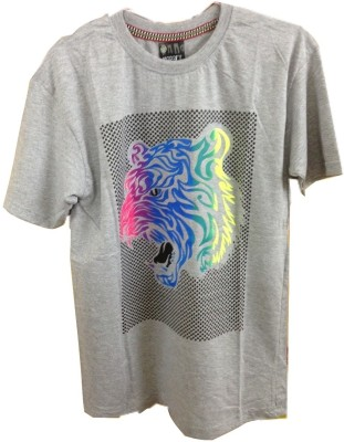Rools Printed Men's Round Neck Grey T-Shirt