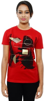 Sunakaran Printed Women's Round Neck Red T-Shirt