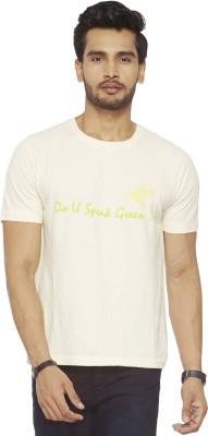 Do U Speak Green Solid Men's Round Neck White T-Shirt