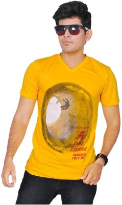 A1 Tees Printed Men's Round Neck Yellow T-Shirt