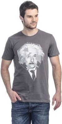 Einstine Printed Men's Round Neck Grey T-Shirt