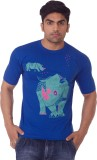 One For Blue Printed Men's Round Neck Bl...