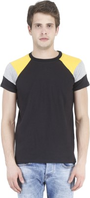Bonzer Fashion Solid Men's Round Neck Black, Yellow, Grey T-Shirt