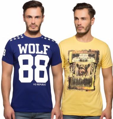 Yo Republic Printed Men's Round Neck Blue, Yellow T-Shirt