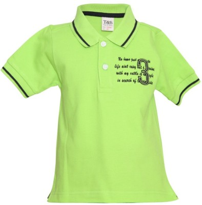 Tales & Stories Solid Boy's Polo Neck Green T-Shirt