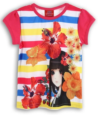 Lilliput Printed Girl's Round Neck Multicolor T-Shirt