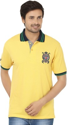 Qee Pee Jeans Solid Men's Polo Neck Yellow, Blue T-Shirt