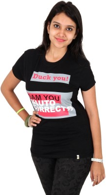 Unofficial Apparel Retails Printed Women's Round Neck Black T-Shirt