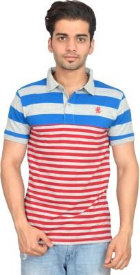 Urban Trail Striped Men's Polo Neck Blue T-Shirt