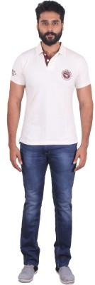 urbantouch Solid Men's Polo Neck White T-Shirt