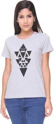 Alibi By INMARK Graphic Print Women's Round Neck Grey T-Shirt
