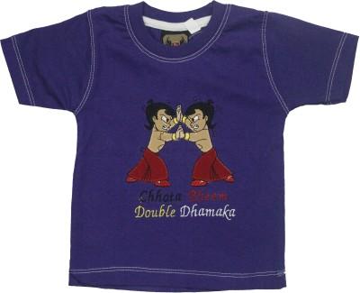 Mankoose Applique Baby Boy's Round Neck Purple T-Shirt