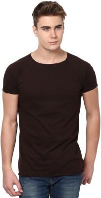 Unisopent Designs Solid Men's Round Neck Brown T-Shirt