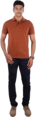 Indian Terrain Solid Men's Flap Collar Neck Orange T-Shirt