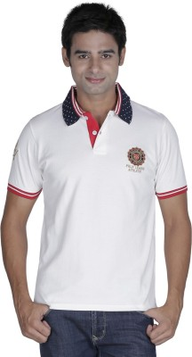 Prakum Solid Men's Polo Neck White T-Shirt