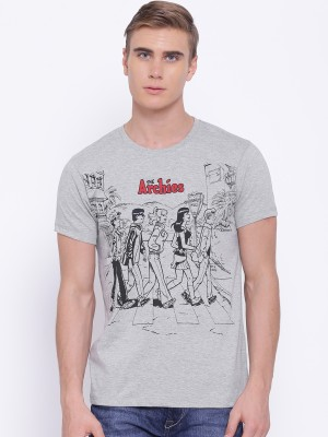 Kook N Keech Archie Printed Men's Round Neck Grey T-Shirt