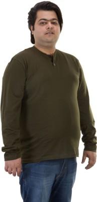 BIGBANANA Solid Men's Henley Dark Green T-Shirt