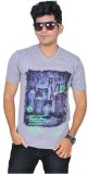 A1 Tees Printed Men's Round Neck Grey T-...