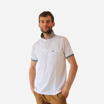 Amba Solid Men's Flap Collar Neck White T-Shirt