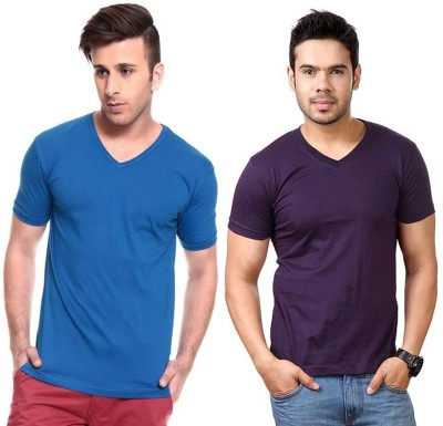 Lowcha Solid Men's V-neck Blue, Purple T-Shirt