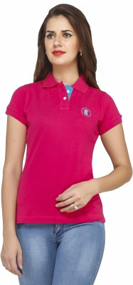Run of luck Solid Women's Polo Pink T-Shirt