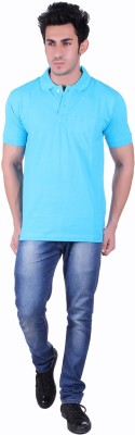 SEABOARD Solid Men,s Polo Neck Light Blue T-Shirt