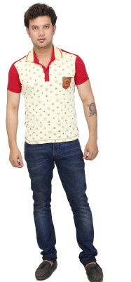 AFLASH Printed Men's Polo Red T-Shirt